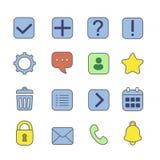 Iconos lineares de la notificación y de la información fijados Signo de interrogación, exclamación y atención, ayuda, FAQ, ejempl Fotografía de archivo libre de regalías