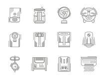 Iconos lineares de los dispositivos del clima fijados Imagen de archivo