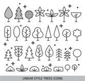 Iconos lineares de los árboles del estilo Fotografía de archivo
