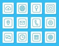Iconos lineares de Minimalistic para los dispositivos móviles fijados stock de ilustración