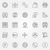 Iconos lineares del aeropuerto ilustración del vector