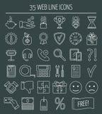 35 iconos lineares del diseño web Línea iconos para la página del negocio, del desarrollo web y del aterrizaje Diseño plano Vecto Fotos de archivo
