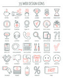Iconos lineares del diseño web Línea moderna iconos para la página del negocio, del desarrollo web y del aterrizaje Diseño plano  Foto de archivo