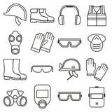 Iconos lineares del vector del equipo de seguridad de trabajo fijados ilustración del vector