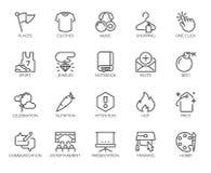 20 iconos lineares en deportes, la consumición sana, la forma de vida, aficiones, compras en línea y la educación del web Vector  libre illustration