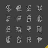 Iconos lineares finos de los símbolos de moneda del mundo Foto de archivo