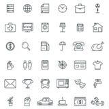 Iconos lineares Icono y muestras finos, pictogramas del símbolo del esquema Foto de archivo libre de regalías