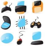 Iconos lisos de la dotación física de PC Fotos de archivo
