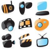 Iconos lisos del dispositivo de los media libre illustration