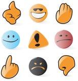 Iconos lisos del emoticon y del cursor Imagen de archivo