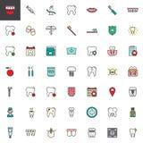 Iconos llenados dentales del esquema del dentista fijados ilustración del vector