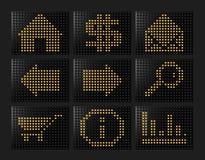 Iconos llevados del efecto formados por las bolas Fotos de archivo libres de regalías