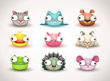 Iconos locos divertidos de las caras de los animales fijados stock de ilustración