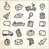 Iconos logísticos dibujados mano Fotografía de archivo libre de regalías