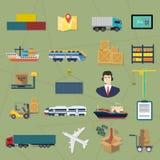 Iconos logísticos Ejemplo del servicio del vector del cargo de la entrega Imagen de archivo libre de regalías