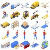 Iconos logísticos fijados, estilo isométrico de la entrega stock de ilustración
