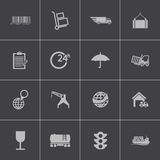 Iconos logísticos negros del vector fijados Imagenes de archivo