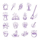 Iconos mágicos del vector en la línea estilo ilustración del vector