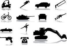 Iconos. Máquinas y tecnologías Imagenes de archivo