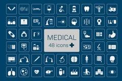 48 iconos médicos ilustración del vector