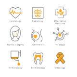Iconos médicos coloreados de la atención sanitaria Imagen de archivo