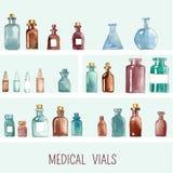 Iconos médicos de la acuarela Fotografía de archivo
