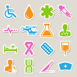 Iconos médicos de la etiqueta engomada fijados. Ilustración Fotos de archivo