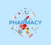 Iconos médicos de la farmacia azul del vector de Digitaces ilustración del vector