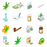 Iconos médicos de la marijuana Fotos de archivo libres de regalías