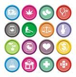 Iconos médicos de la marijuana - iconos redondos Imagen de archivo libre de regalías