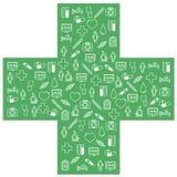 Iconos médicos de los primeros auxilios fijados Ejemplo del vector en diseño (plano) linear Imagen de archivo libre de regalías