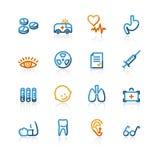Iconos médicos del contorno Stock de ilustración