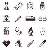 Iconos médicos del negro del vector de Digitaces stock de ilustración
