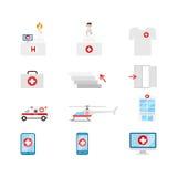 Iconos médicos del web del vector: enfermera del transporte doc. de la emergencia del hospital Fotografía de archivo libre de regalías