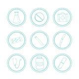 Iconos médicos dibujados mano Fotografía de archivo libre de regalías