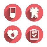 Iconos médicos Diente, tubo de ensayo, donación de sangre Foto de archivo
