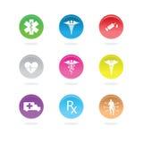 Iconos médicos en círculos de color Imagen de archivo libre de regalías