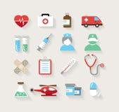 Iconos médicos en estilo plano del diseño Fotos de archivo