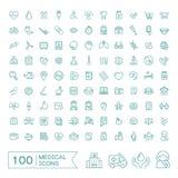 100 iconos médicos fijados Imágenes de archivo libres de regalías
