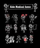 Iconos médicos fijados, cabritos Imagen de archivo