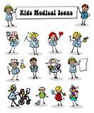 Iconos médicos fijados, cabritos Imagenes de archivo