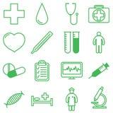 Iconos médicos fijados Ejemplo del vector en diseño (plano) linear Fotografía de archivo