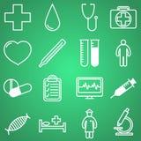 Iconos médicos fijados Ejemplo del vector en diseño (plano) linear Fotografía de archivo libre de regalías