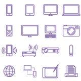 Iconos médicos fijados Ejemplo del vector en diseño (plano) linear Los artilugios y los iconos de la tecnología fijaron, estilo l Foto de archivo libre de regalías