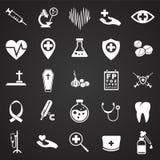 Iconos médicos fijados en fondo ilustración del vector