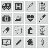 Iconos médicos negros del vector Stock de ilustración