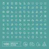 100 iconos médicos preciosos fijados Imagen de archivo libre de regalías