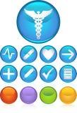 Iconos médicos - redondos Foto de archivo