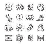 Iconos médicos relacionados con diversas ramas de la medicina Foto de archivo libre de regalías