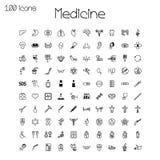 Iconos médicos Sistema de 100 pedazos Imagen de archivo libre de regalías